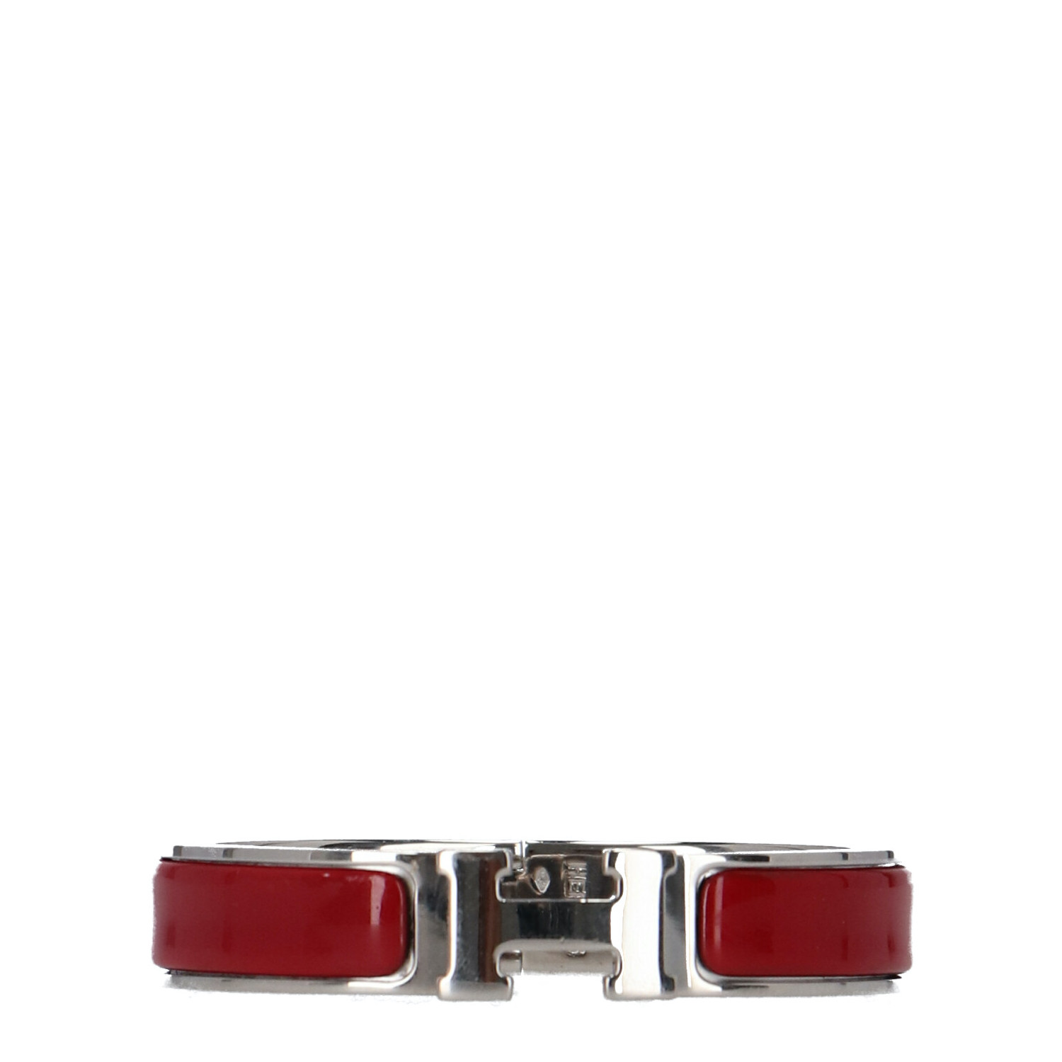 Hermes Red Enamel and Silver Clic Clac H Bracelet