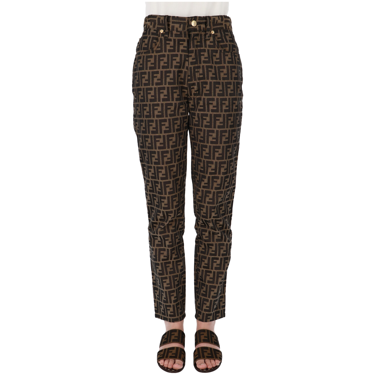 Fendi Brown Zucca Fabric Pants