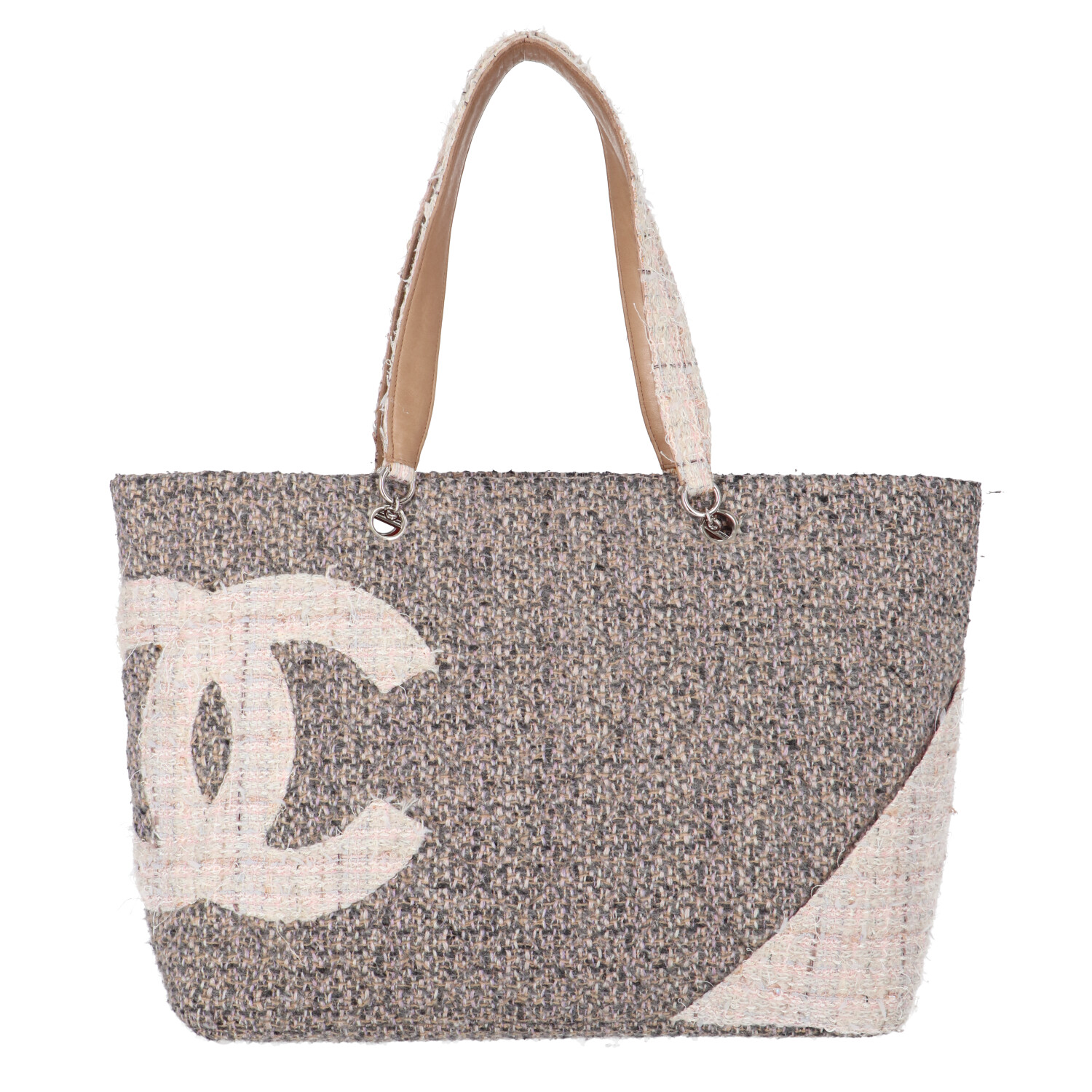 Chanel Beige and Grey Tweed Cambon Ligne Shopper