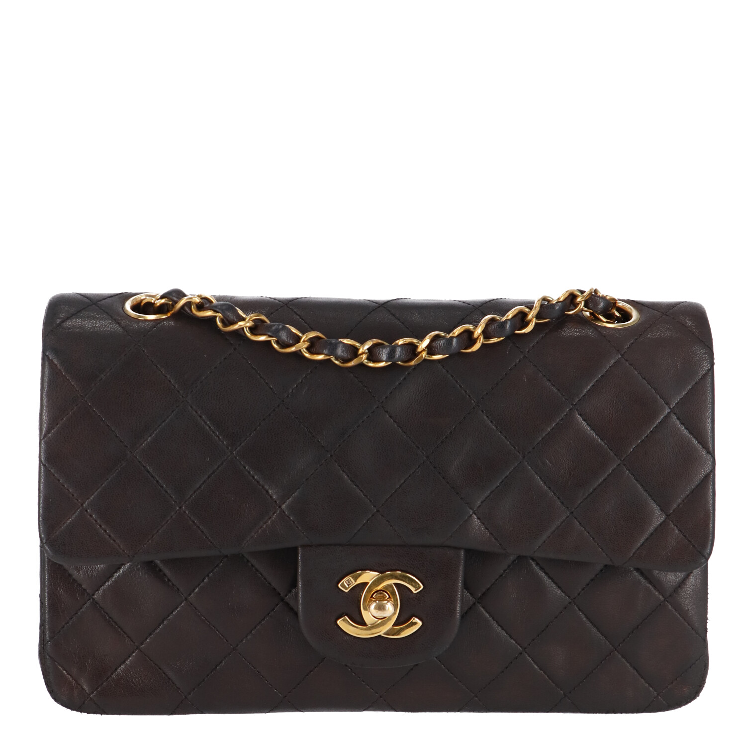 Chanel Brown Small Lambskin Classic Double Flap Bag