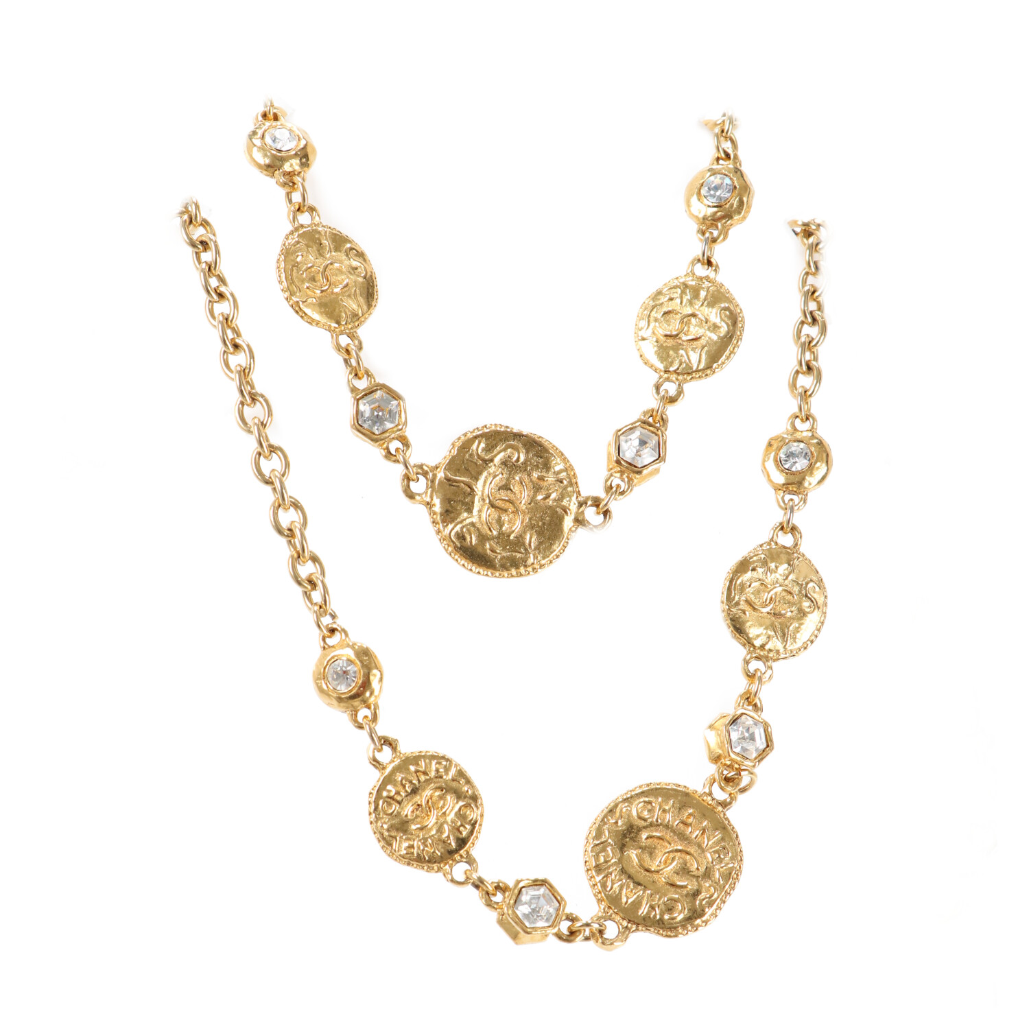 Chanel Gold-Toned 'CC' Beveled Necklace