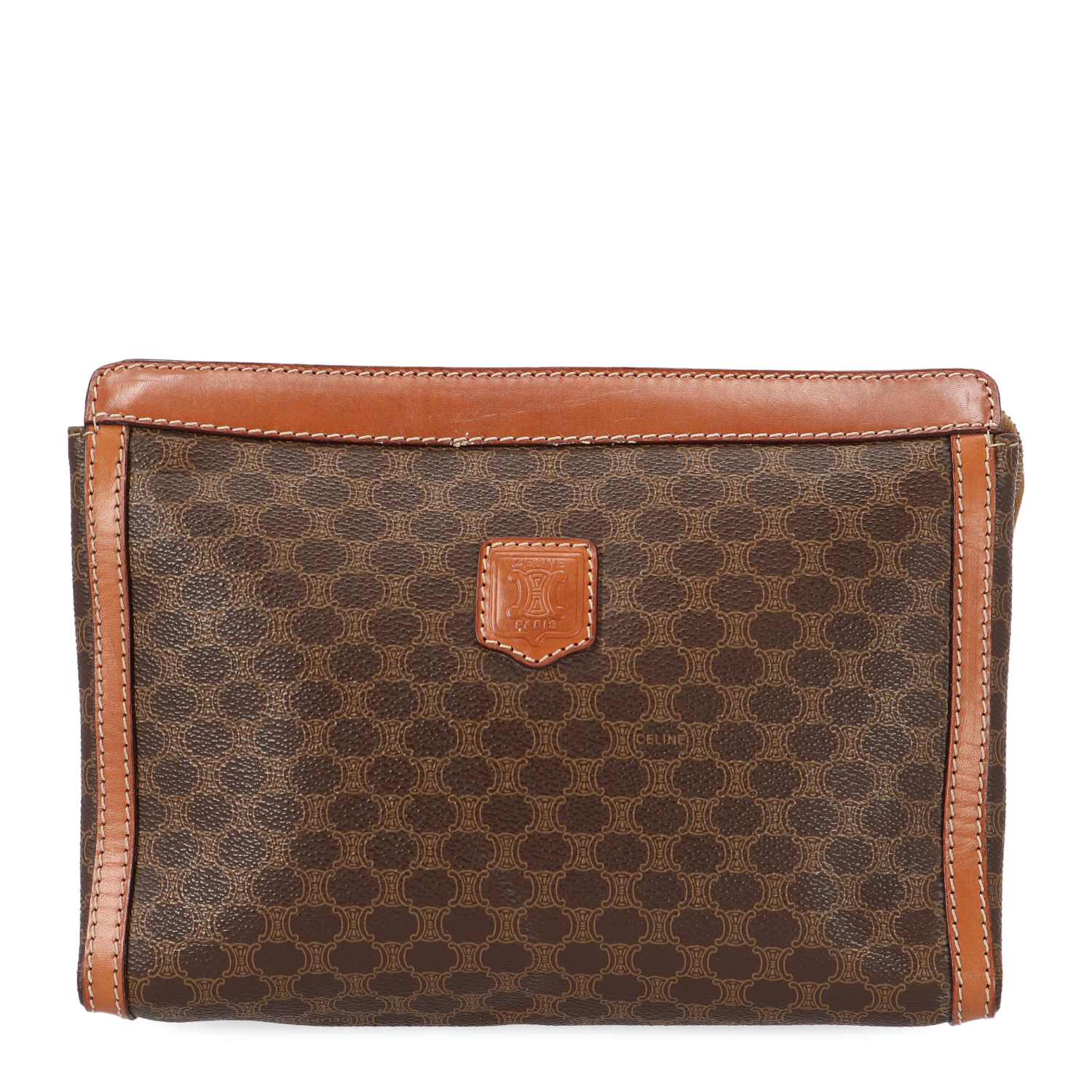 Brown Macadam Canvas Cosmetic Pouch
