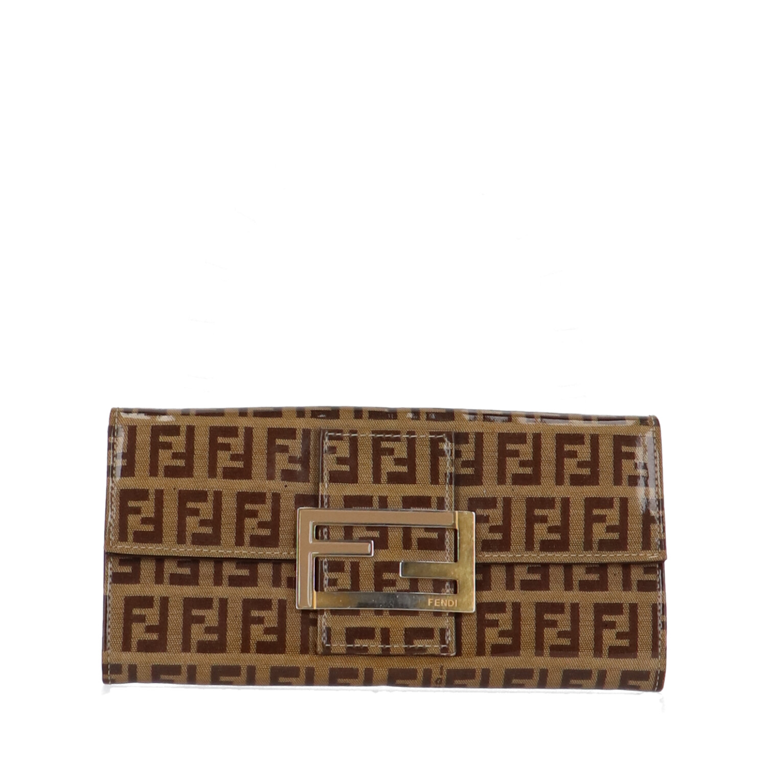 Fendi Brown Zucca Vinyl Long Wallet