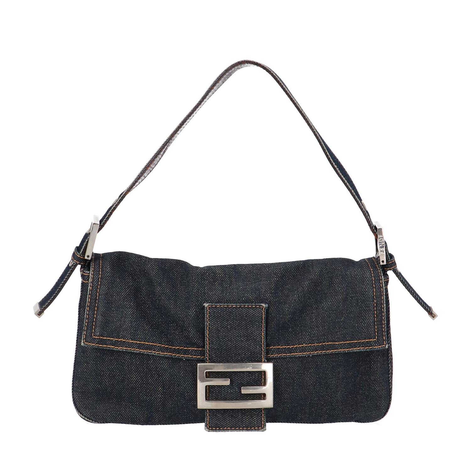 Fendi Blue Wash Denim Baguette
