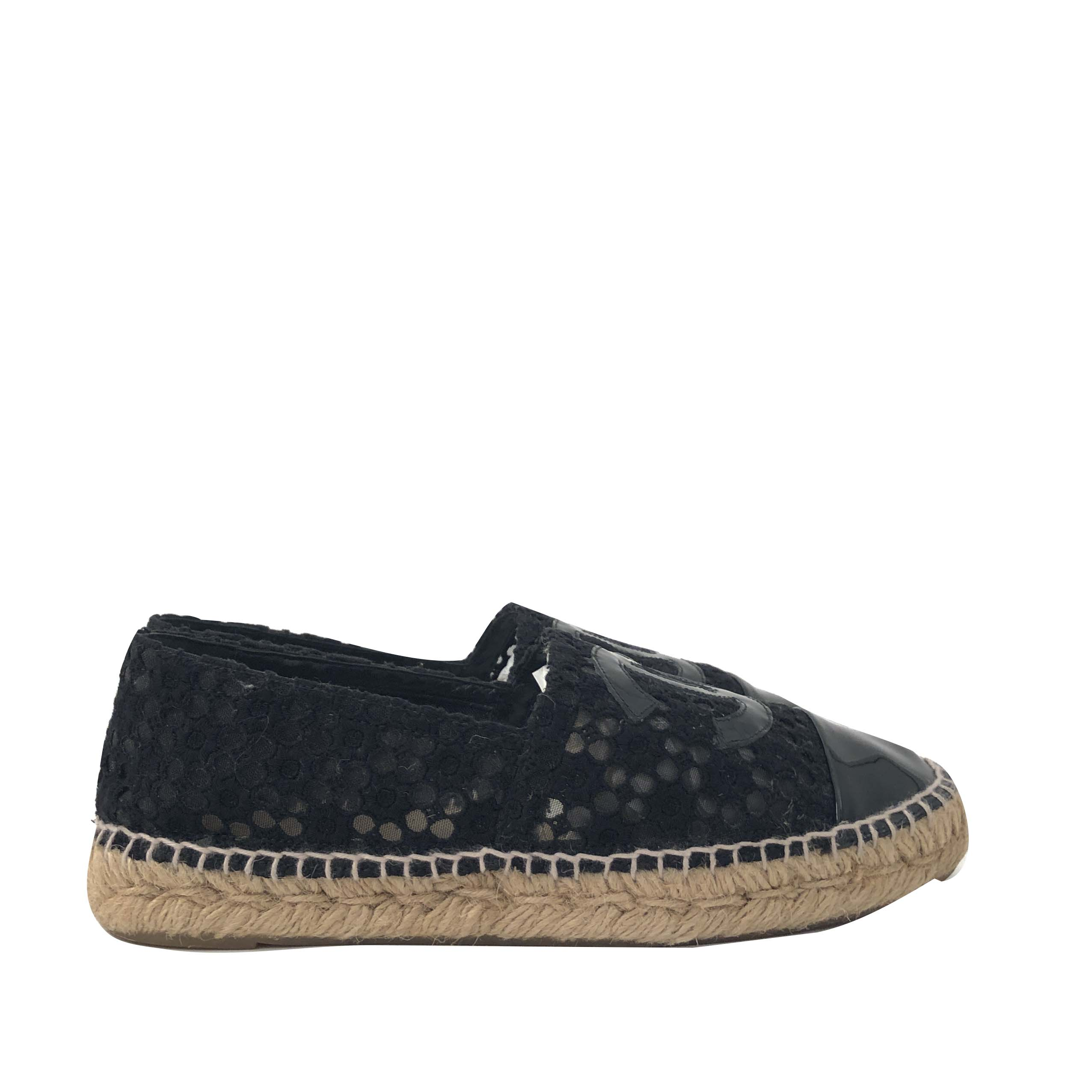 Chanel Black Canvas Wedge Espadrilles