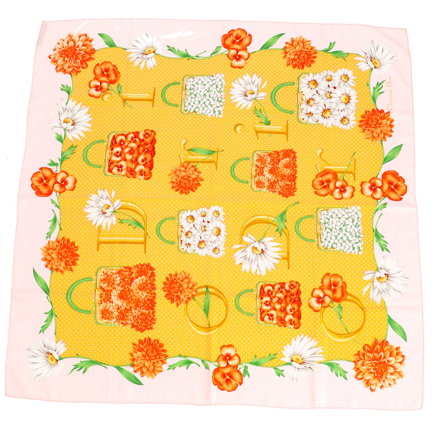 Dior Orange Print Silk Scarf