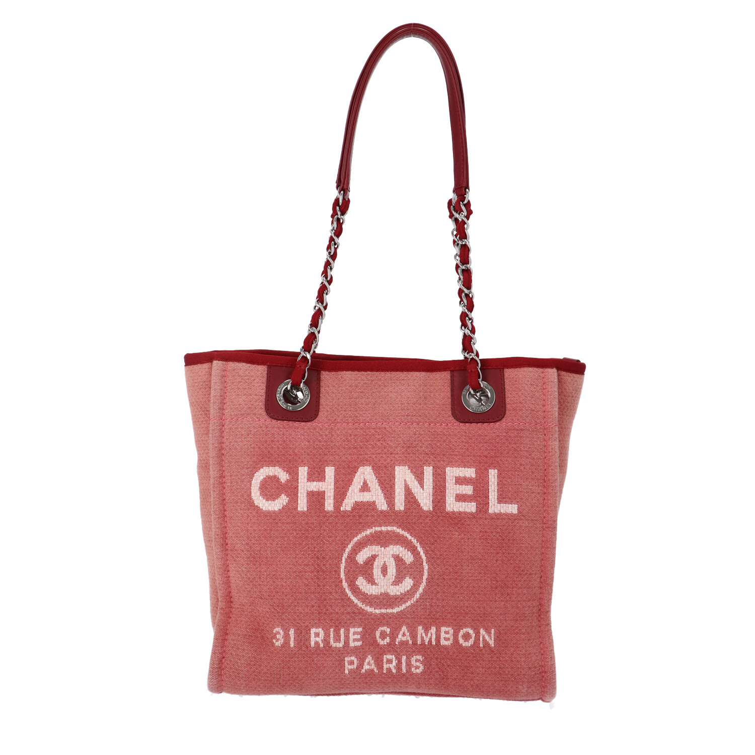 Chanel Red Canvas Deauville