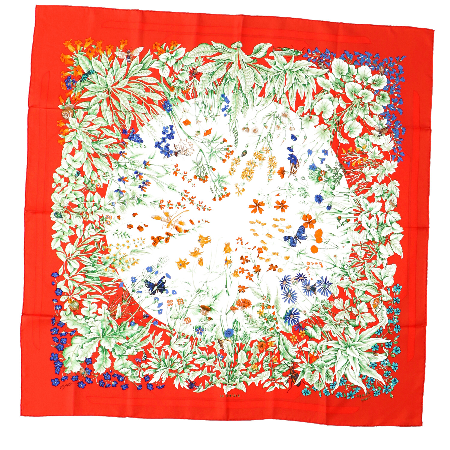 Hermes Red Silk Scarf