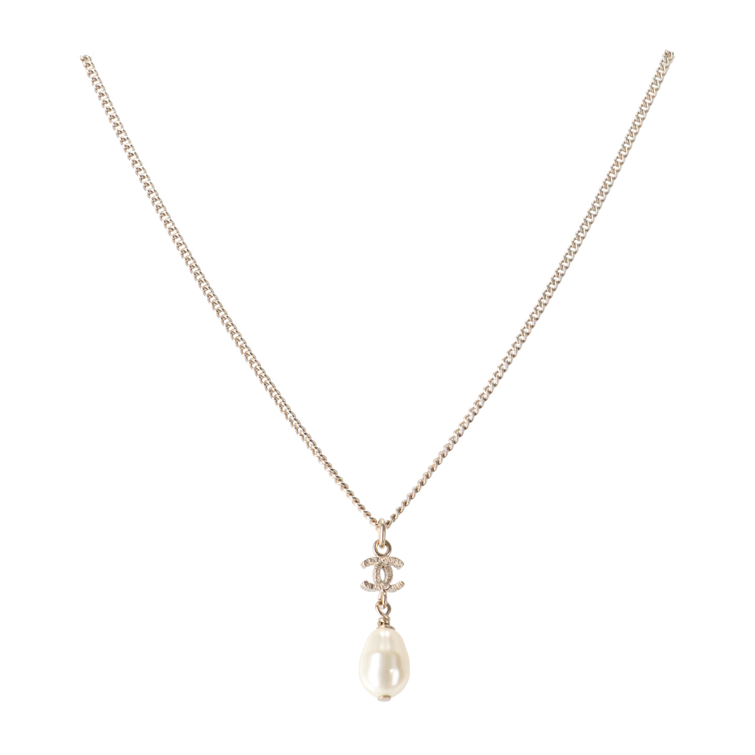 Chanel Gold 'CC' Pearl Necklace