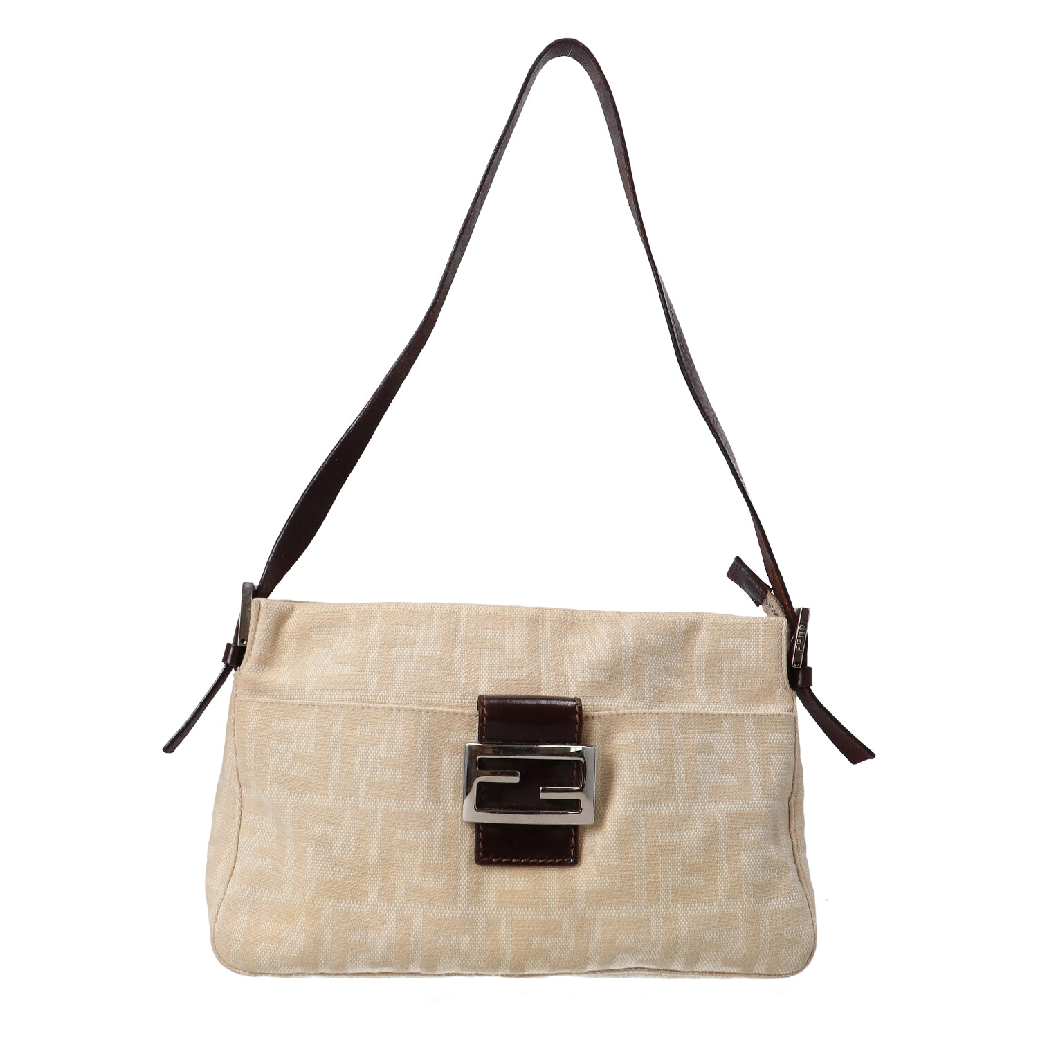 Fendi Beige Zucca Canvas Shoulder Bag