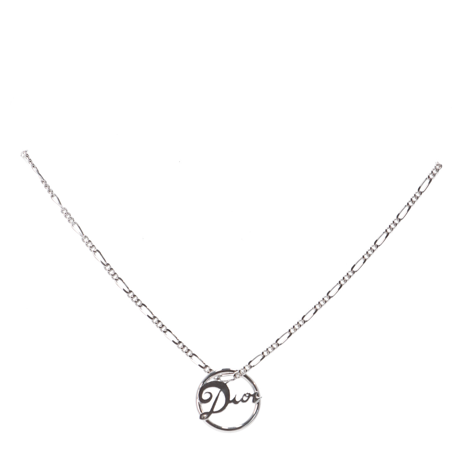 Dior Silver Nameplate Necklace