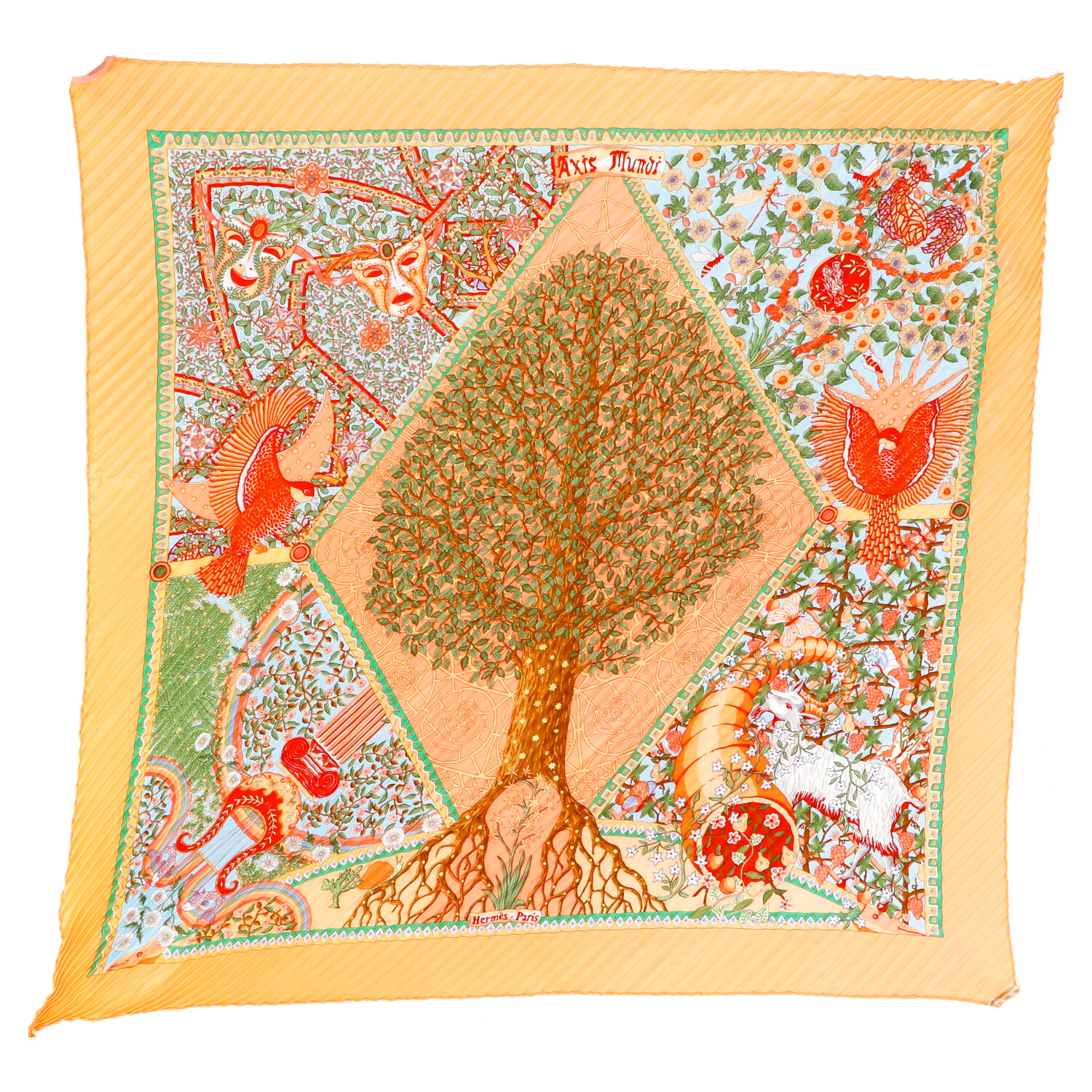 Hermes Orange Silk Scarf