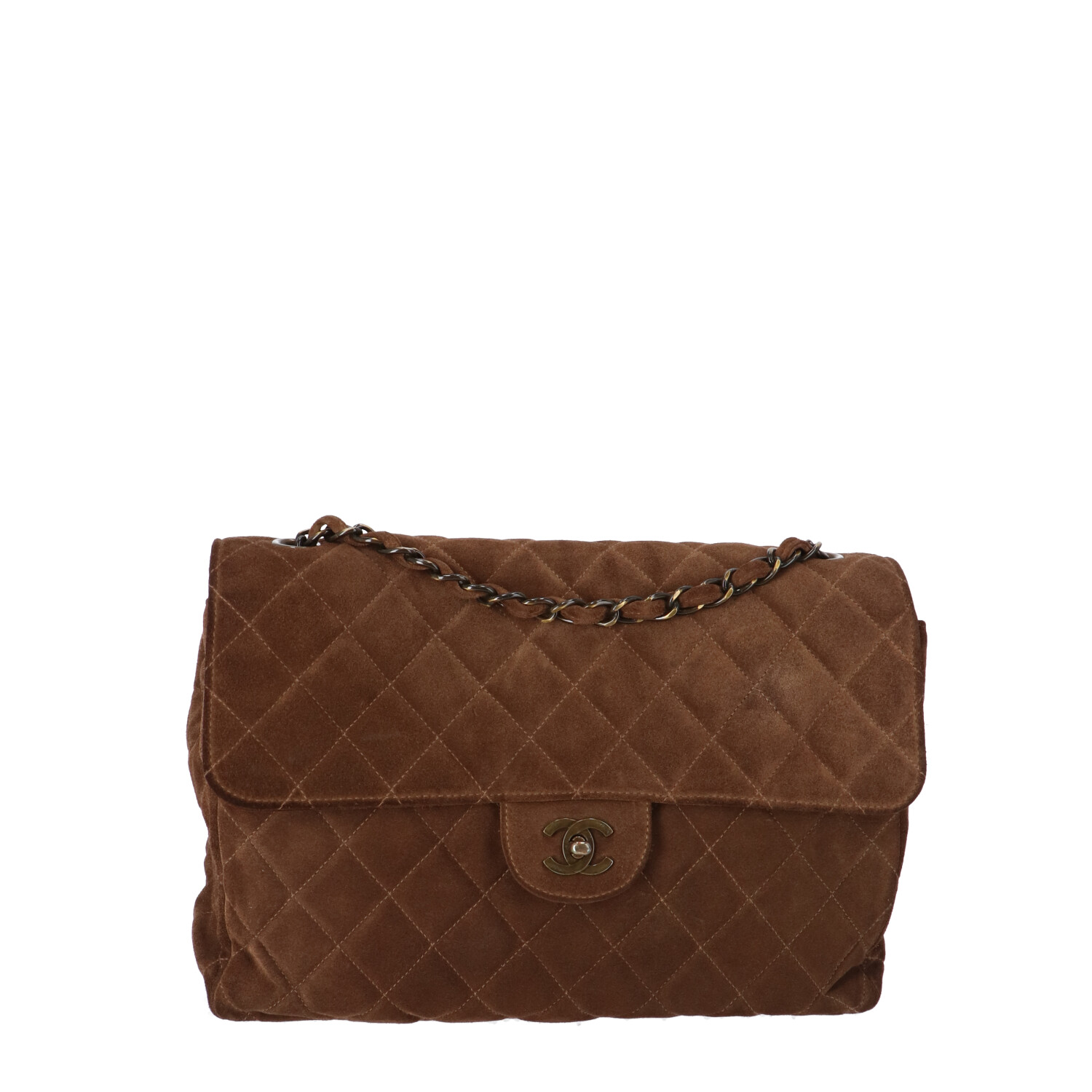 Brown Large Suede Classic Single Flap Bag