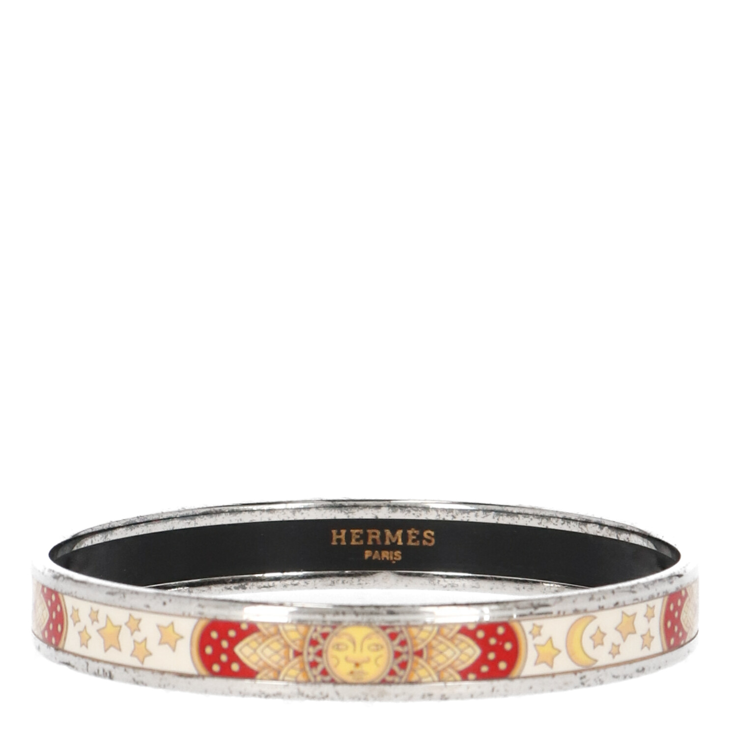 Hermes White Printed Enamel and Silver Bracelet