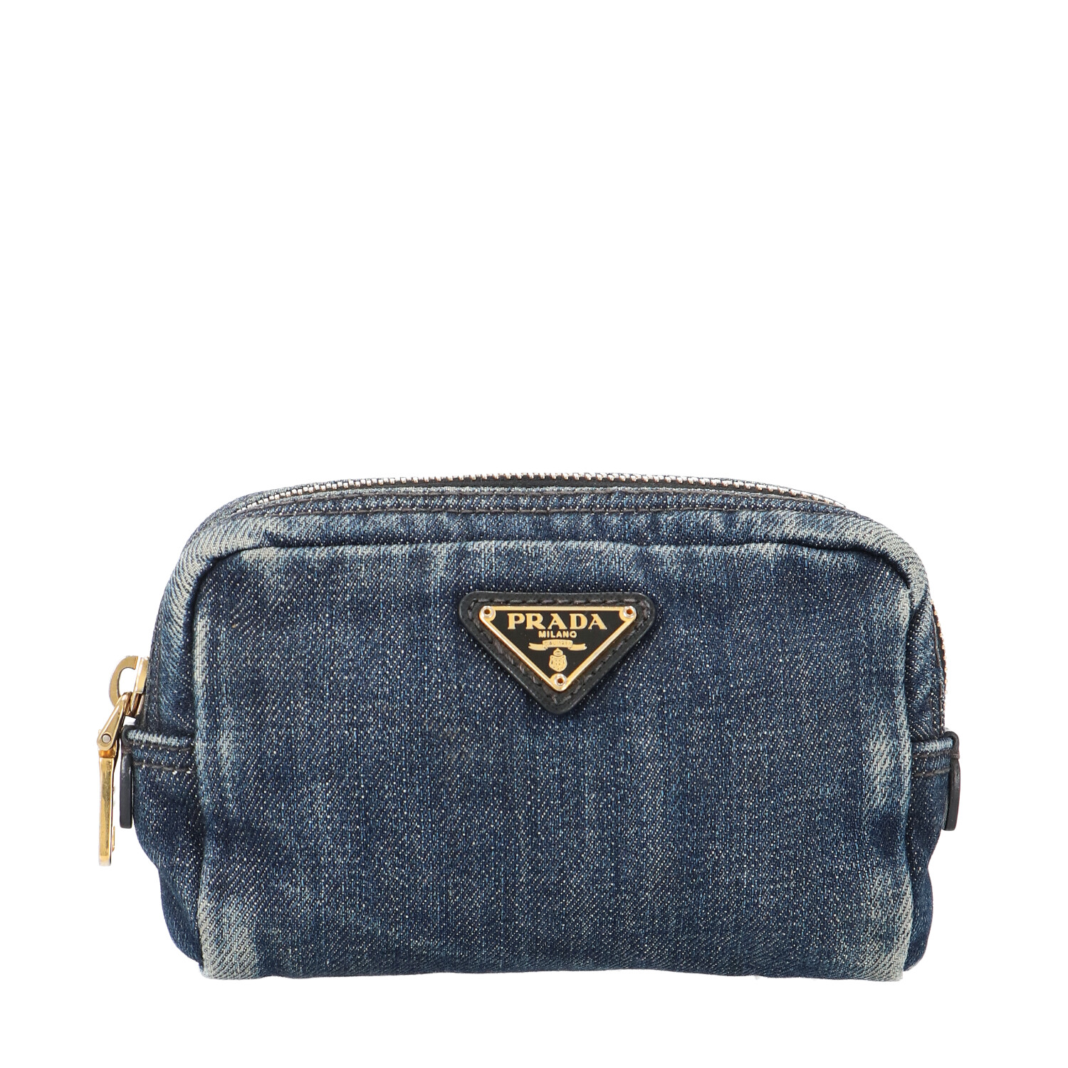 Prada Blue Canvas Cosmetic Pouch