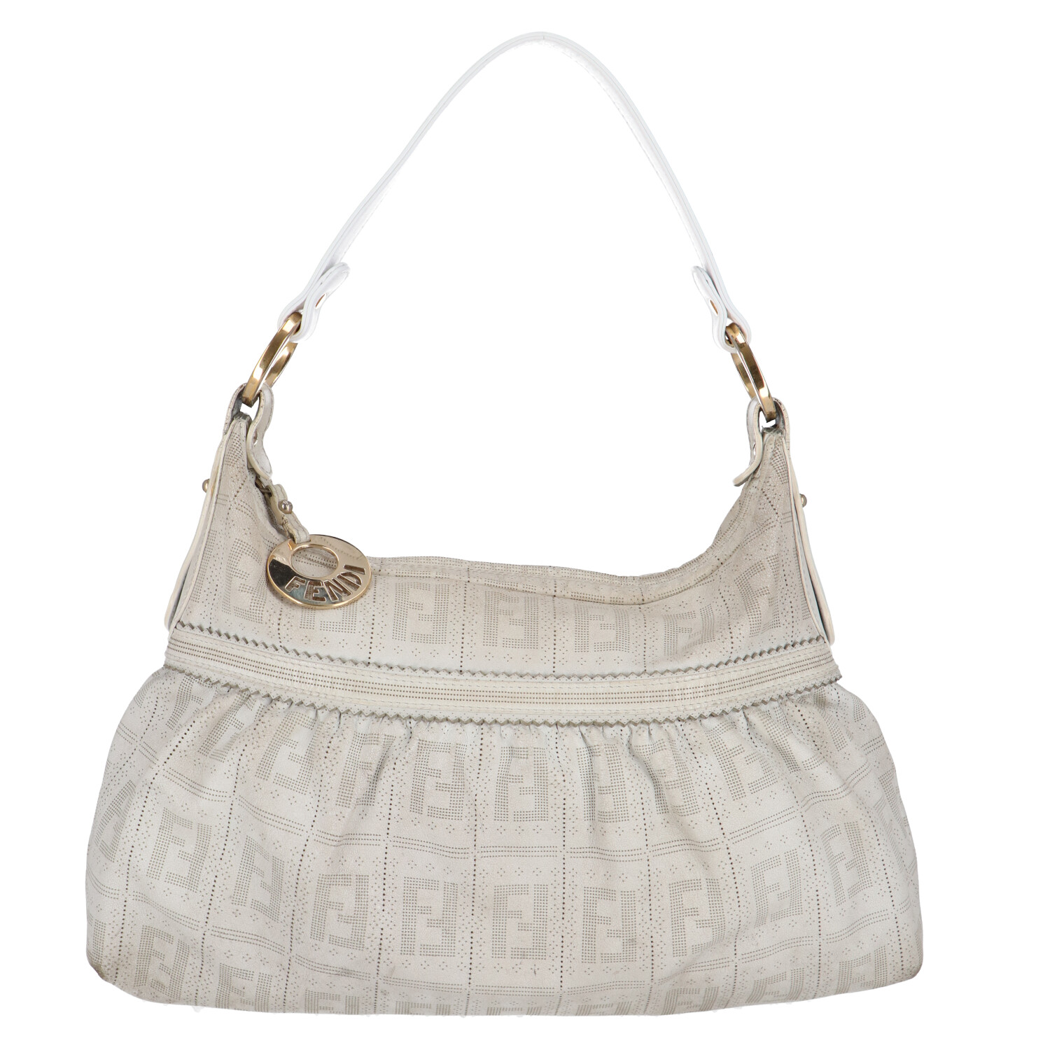 White Zucca Leather Shoulder Bag