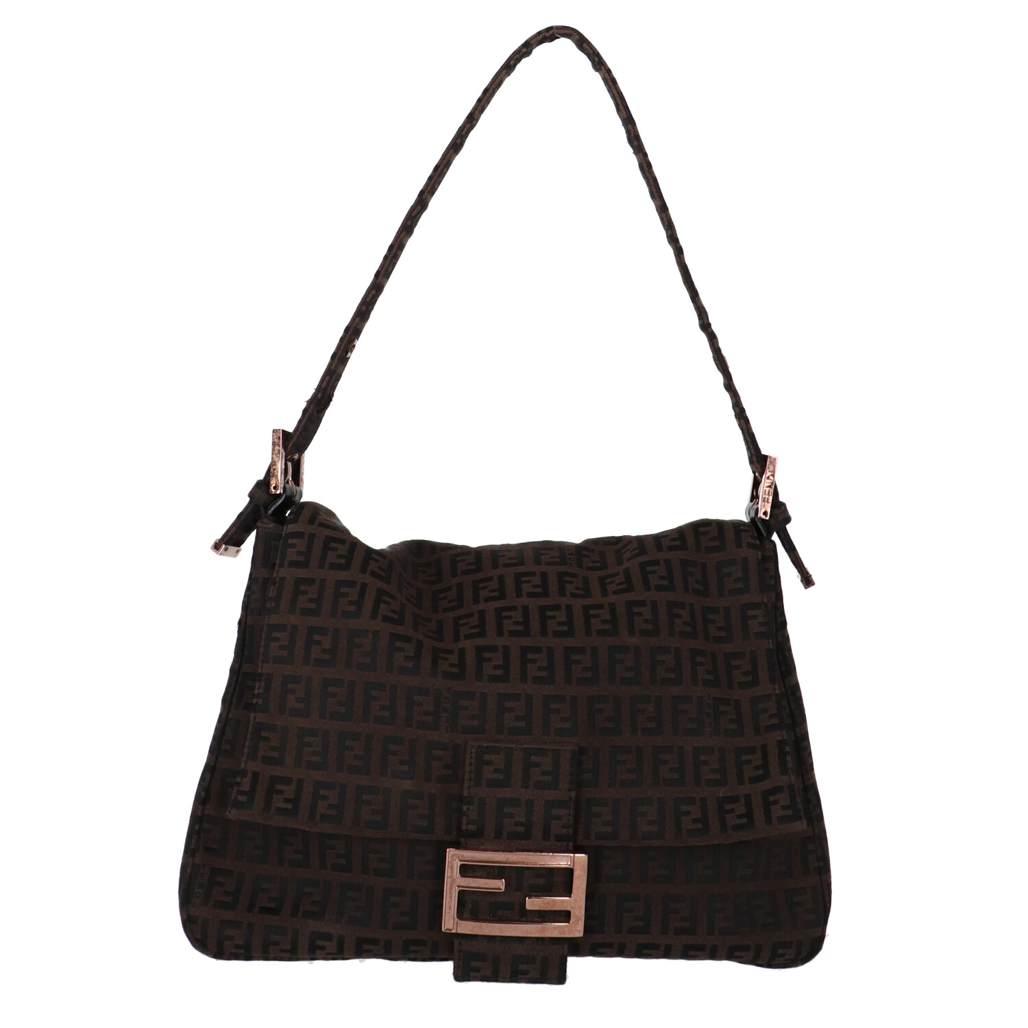 Fendi Brown Zucca Canvas Baguette Mamma