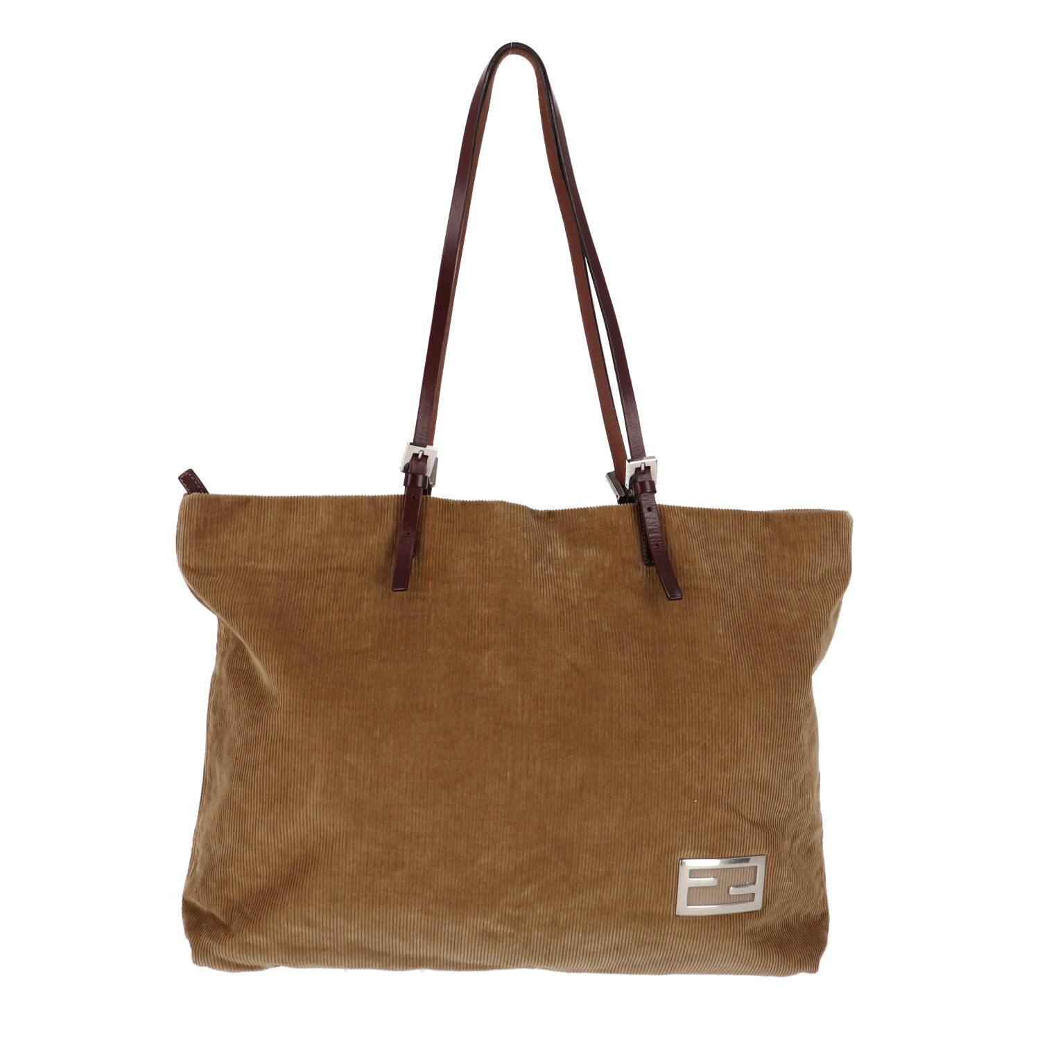 Fendi Brown Corduroy Shoulder Bag
