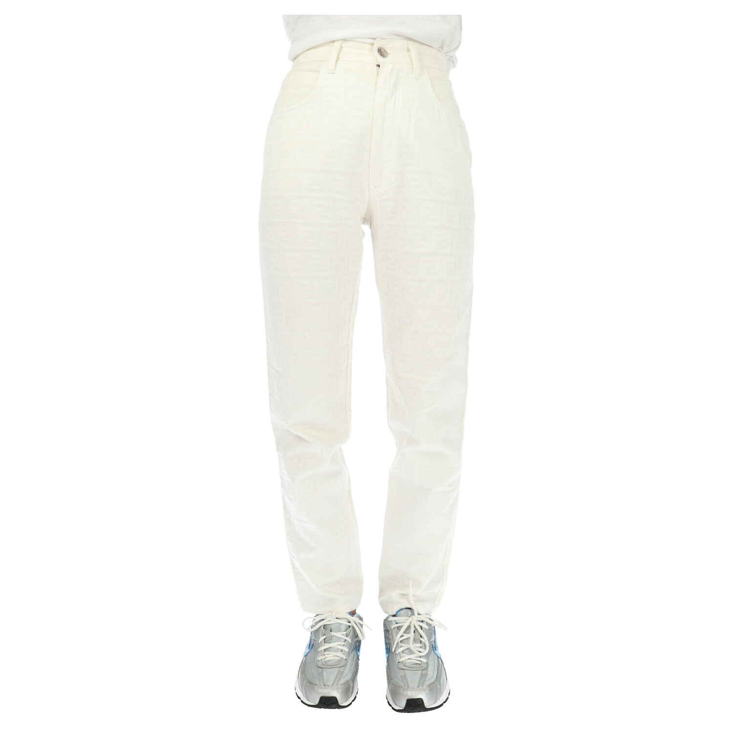 Fendi White Zucca Fabric Pants
