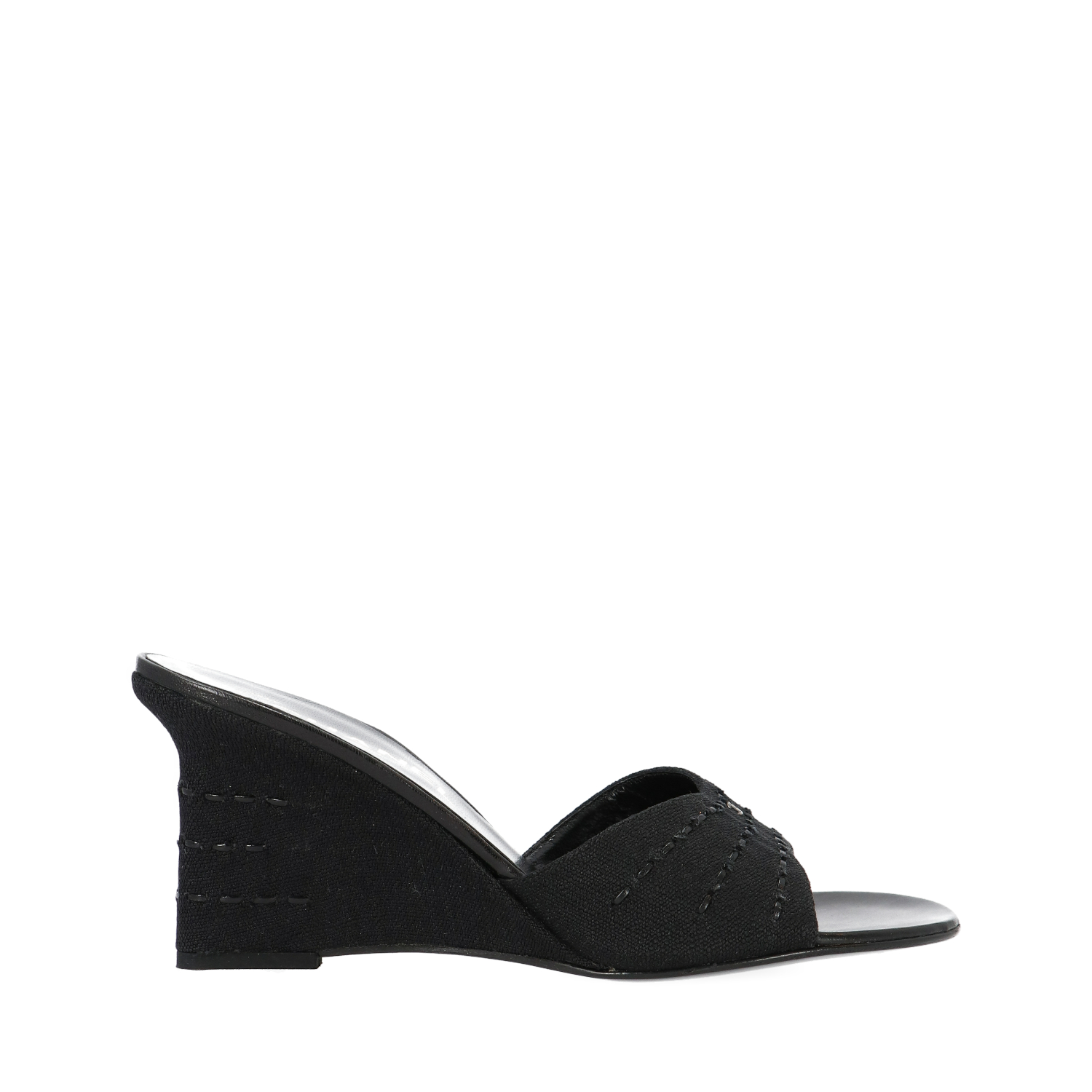 Black Open Toe Wedge Sandals