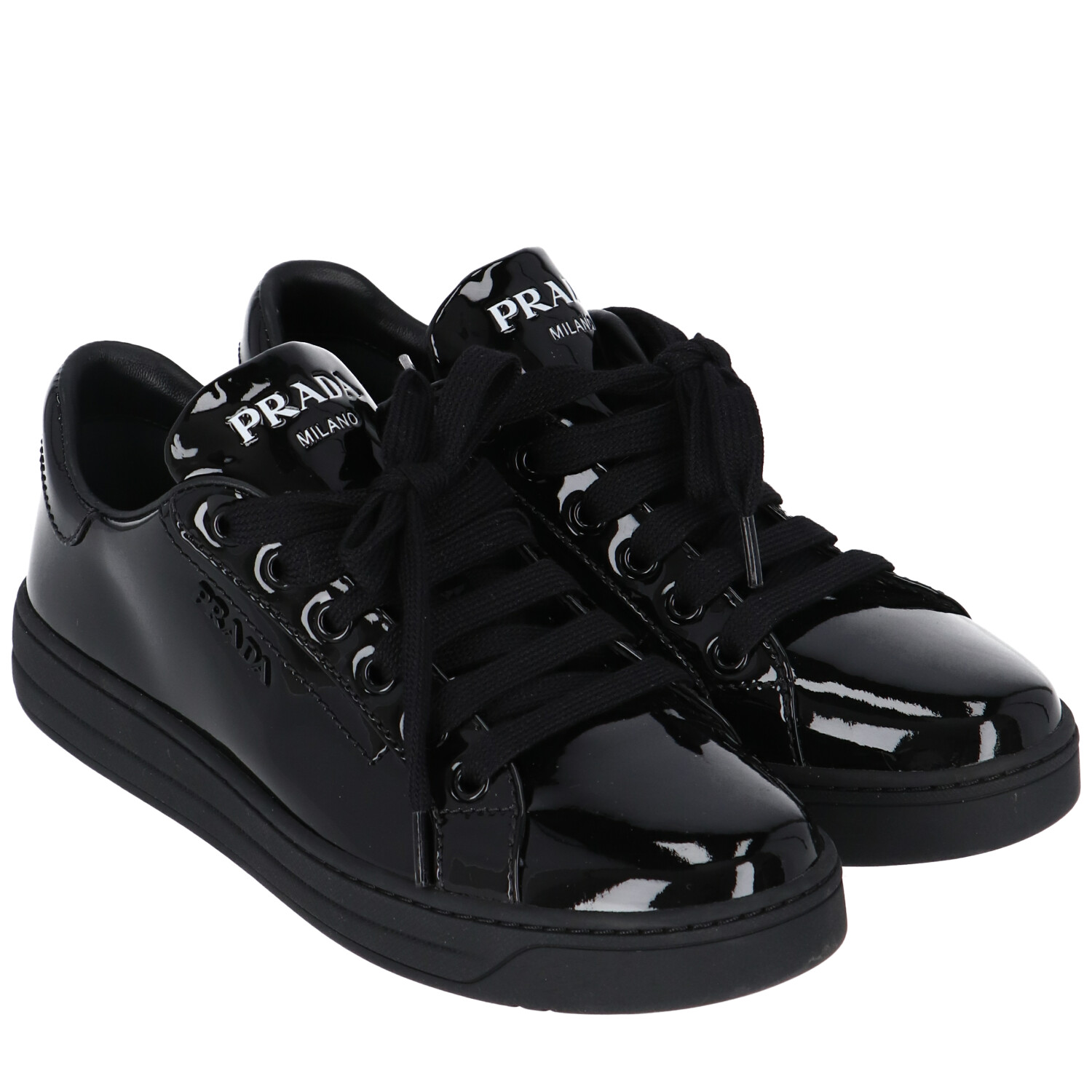 Prada Black Patent Leather Sneakers