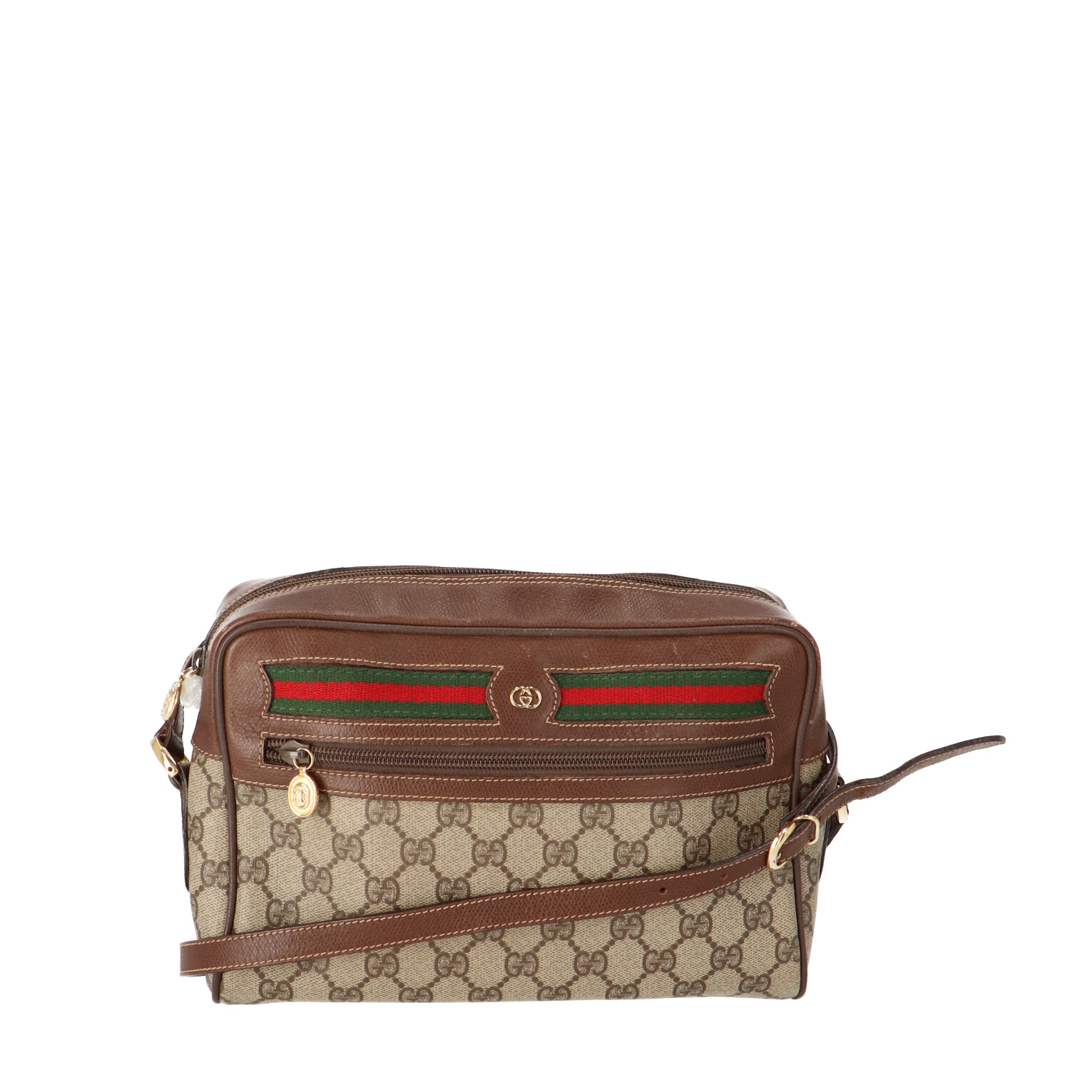 Brown Diamante Coated Canvas Ophidia Bag