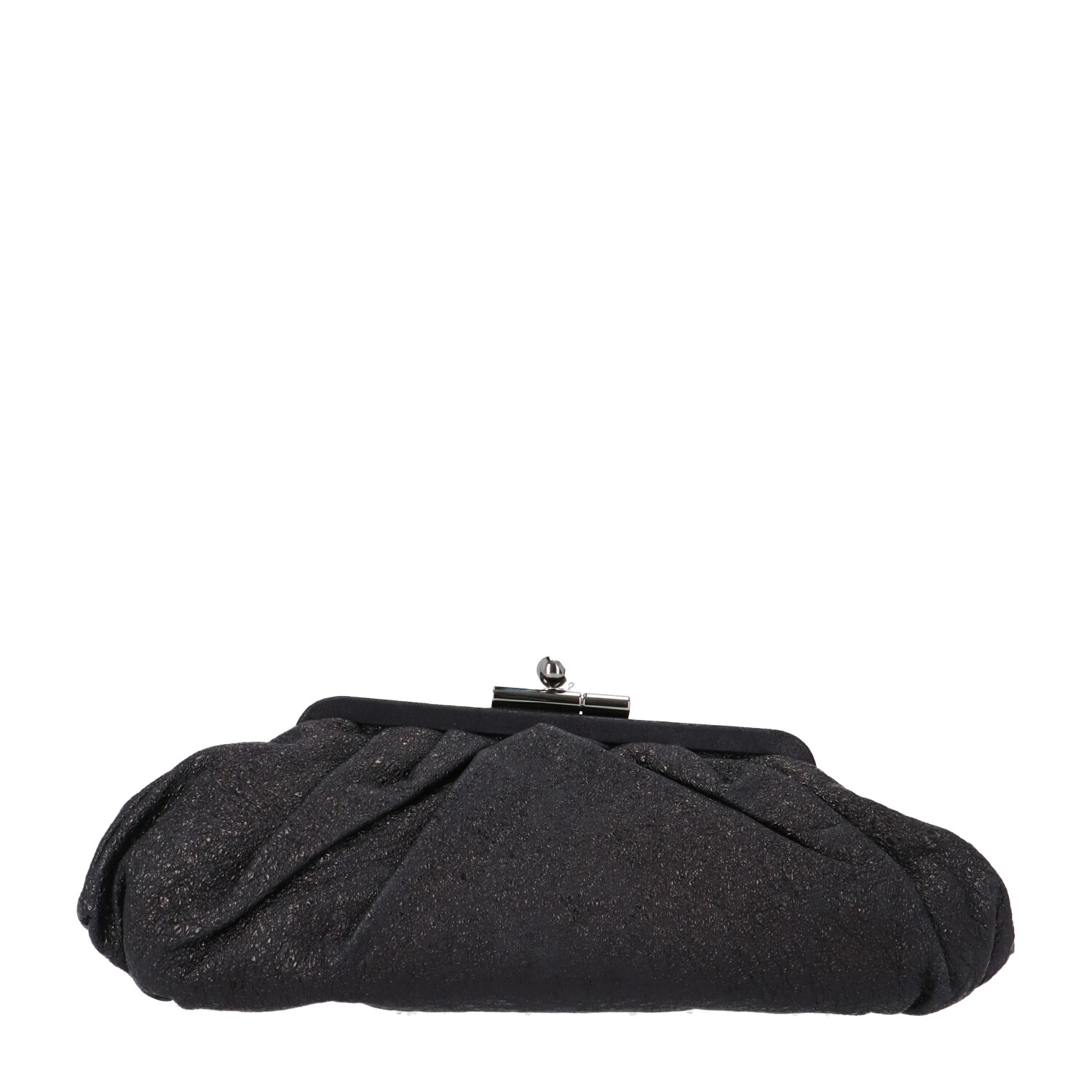 Chanel Black Patent Crinkled Leather Clutch