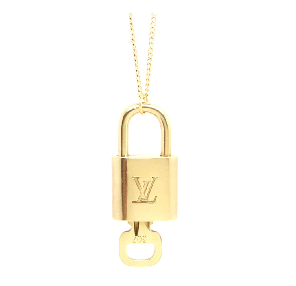 Gold-Plated Lock and Key Necklace 50