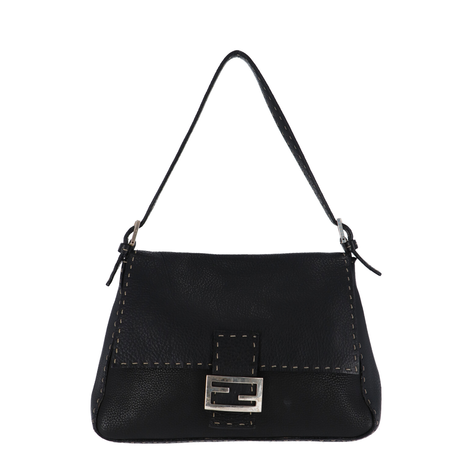 Fendi Black Leather Baguette Mamma