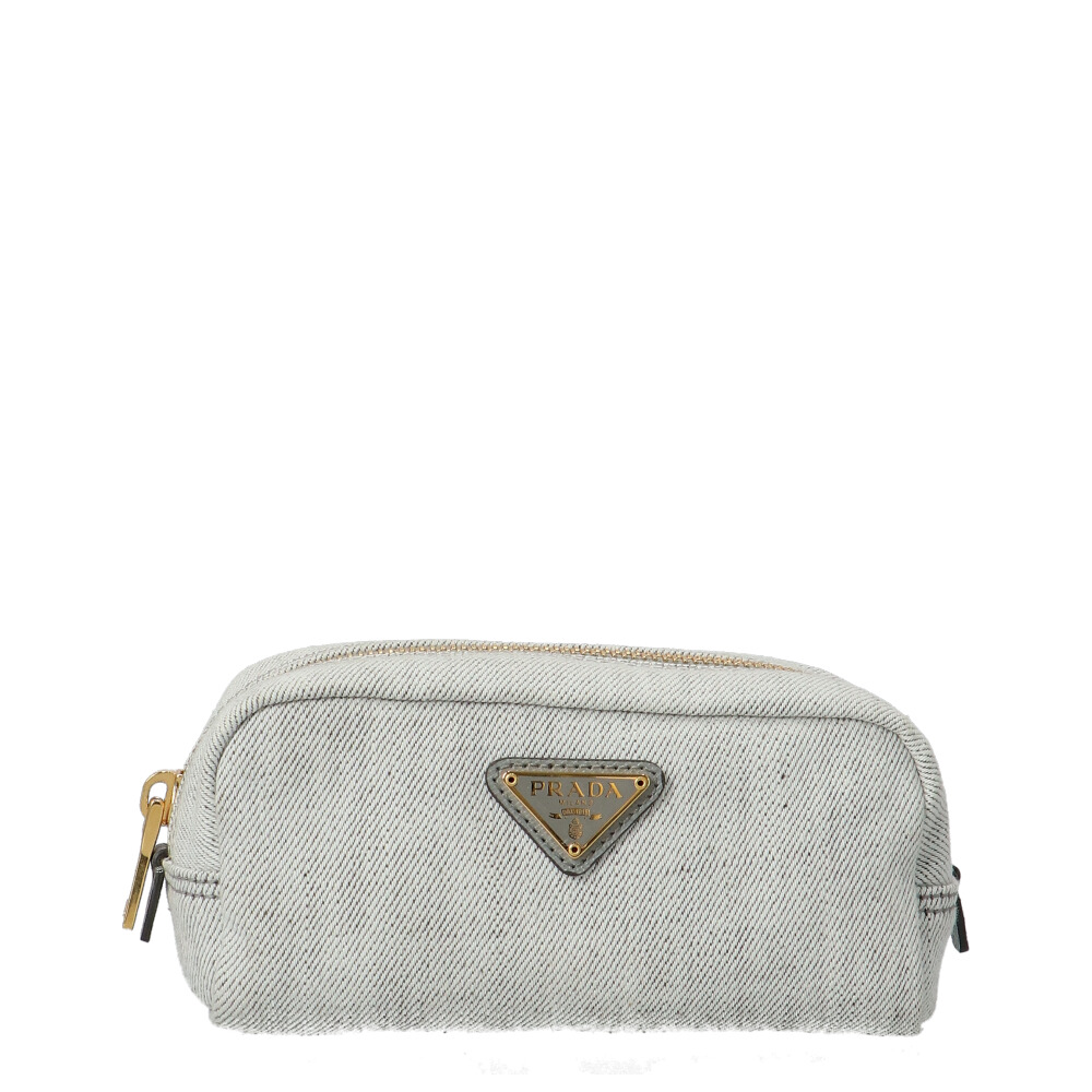 Prada Grey Canvas Cosmetic Pouch