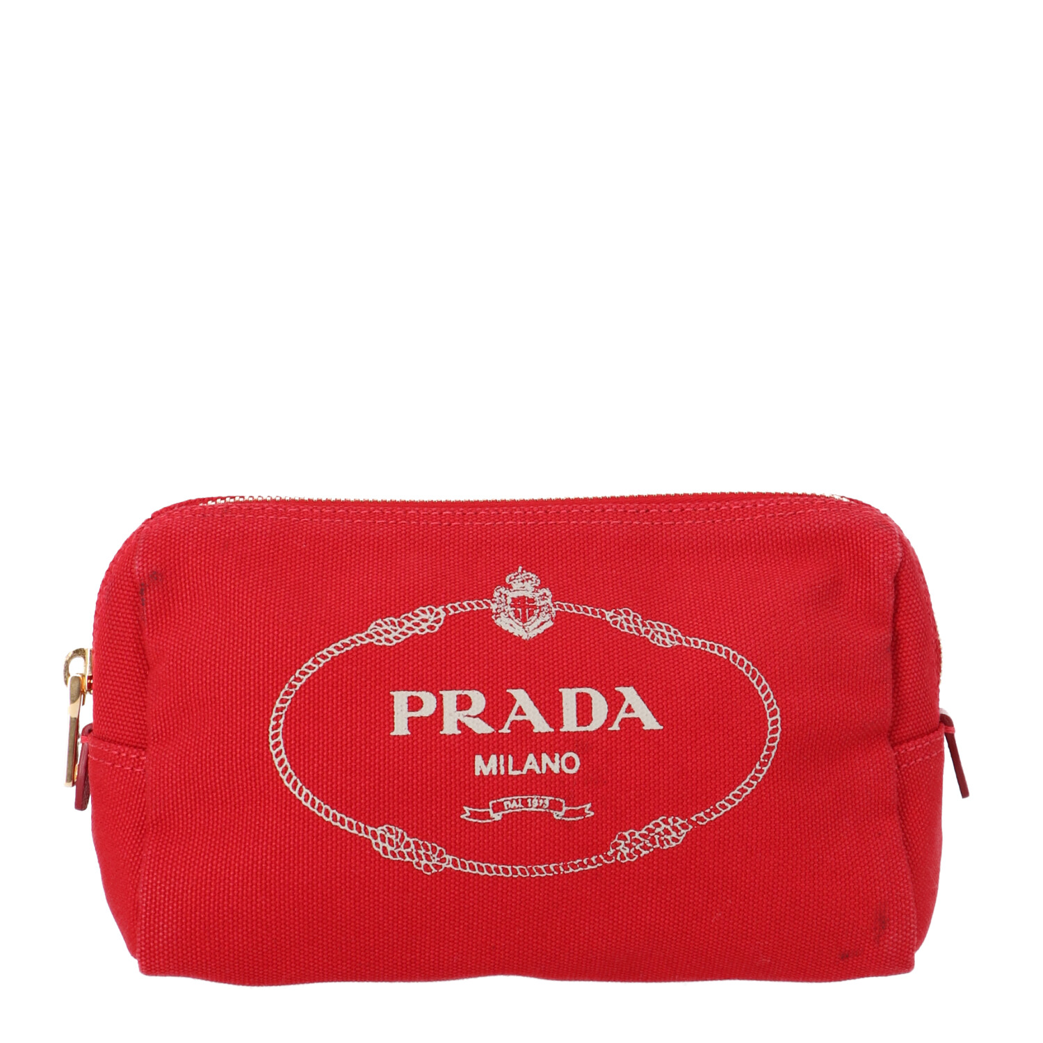 Prada Red Canvas Cosmetic Pouch