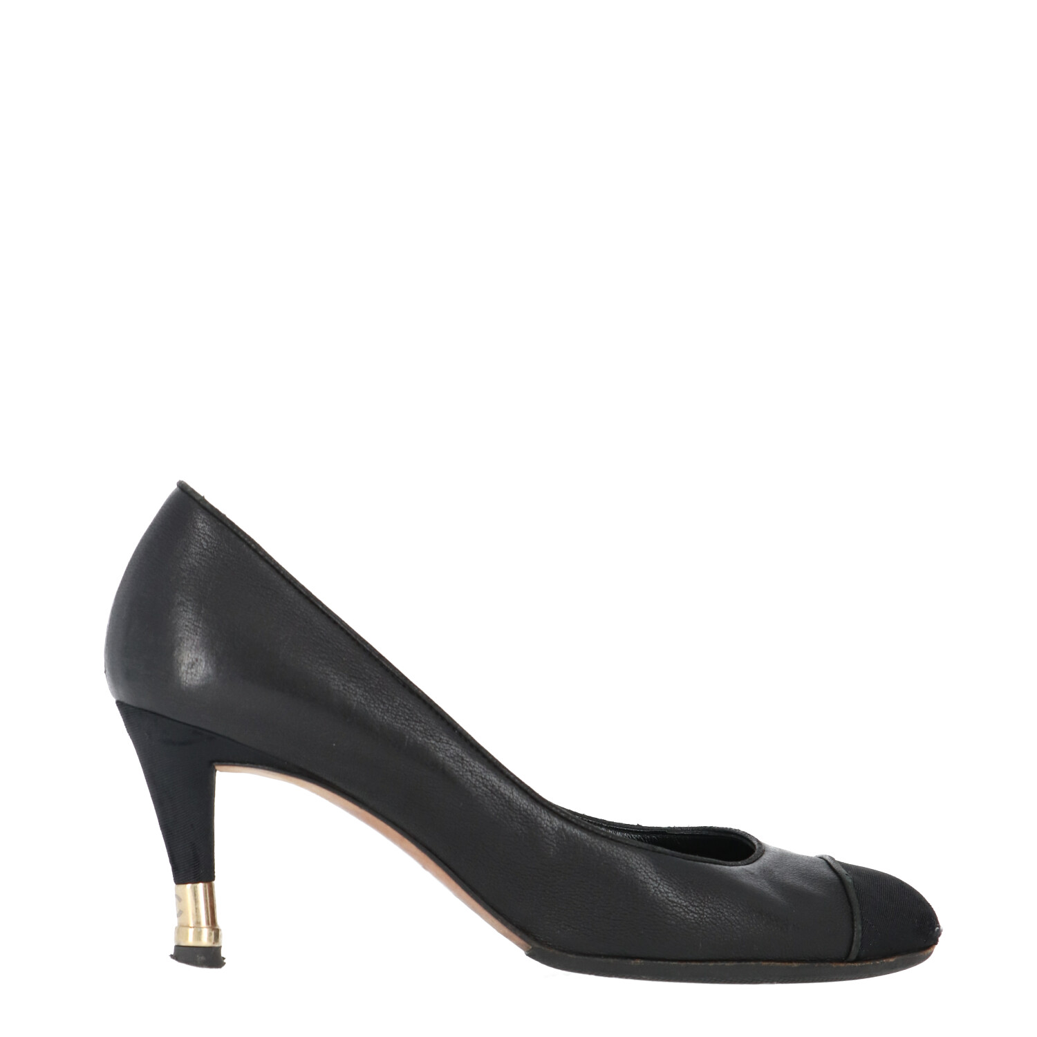 Chanel Black Calfskin Cap Toe Heels