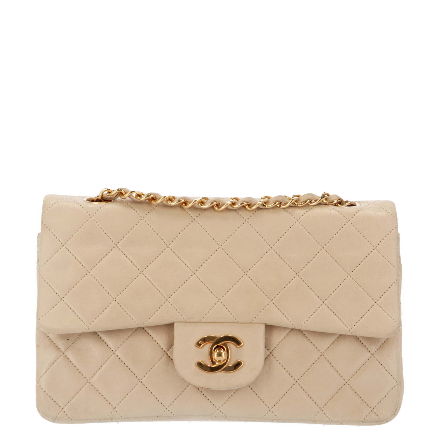 Beige Small Lambskin Classic Double Flap Bag