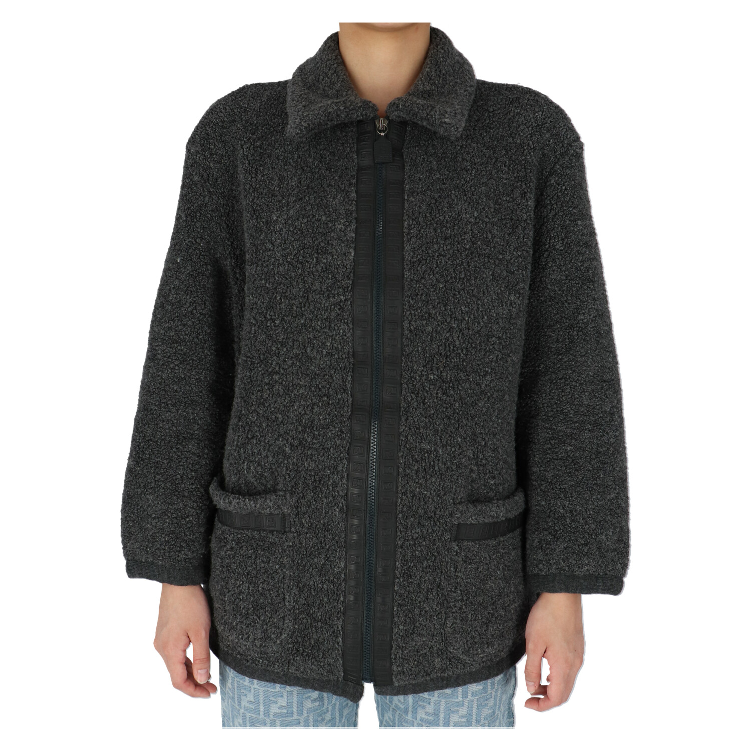 Fendi Grey Zucca Wool Sweater