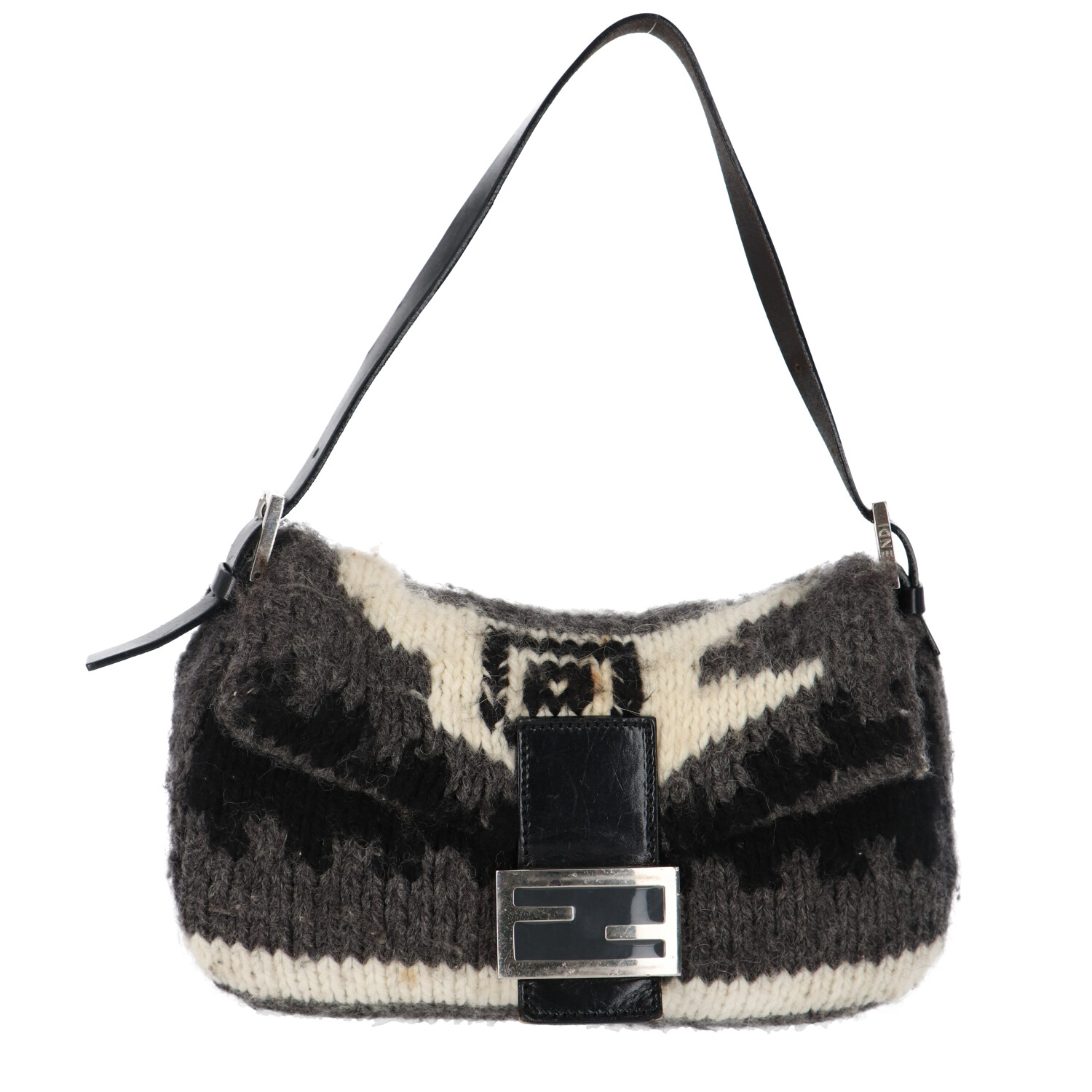 Fendi Grey Knit Baguette