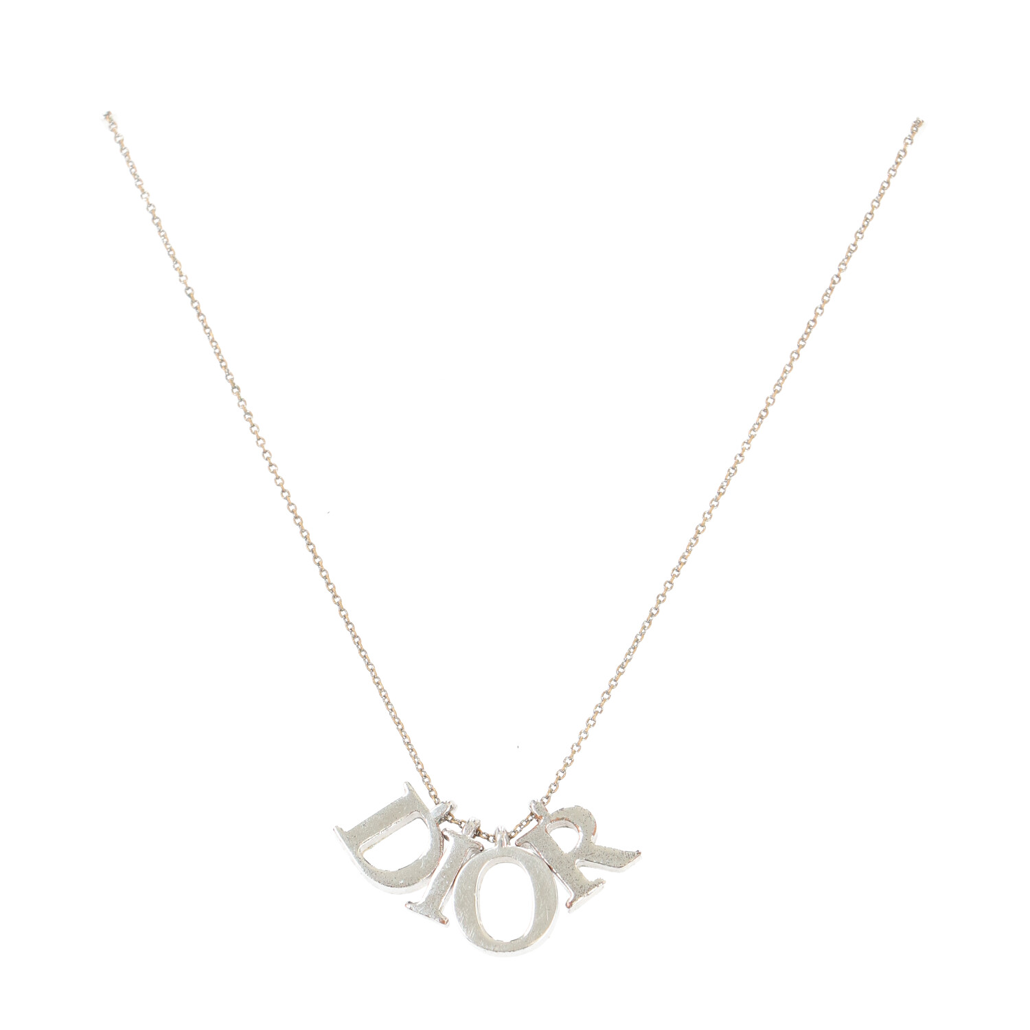 Dior Silver Letter Necklace